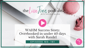 Episode 161: WAHM Success Story: Overbooked in under 40 days with Sarah Randel