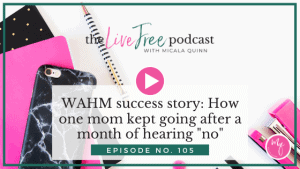 "105: WAHM success story: How one mom kept going after a month of hearing ""no"""